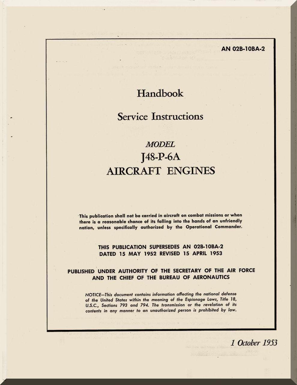 Pratt whitney j48 p 6 aircraft engine service instruction pratt whitney j48 p 6 aircraft engine service instruction handnook manual 1953 sciox Images