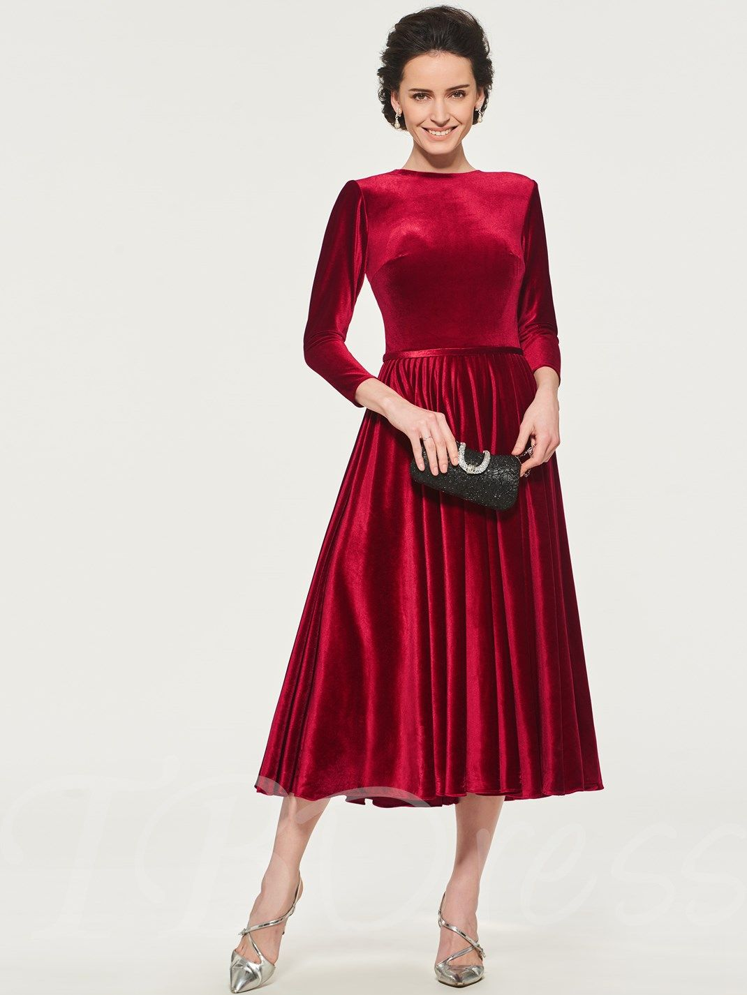 Velvet Tea Length Mother Of The Bride Dress With Sleeves With