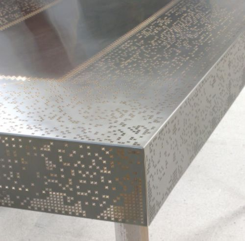MAKE | Laser cut stainless steel lace table covering