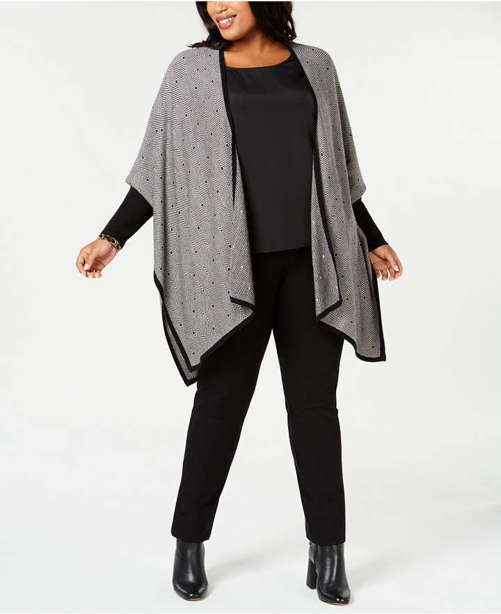 904887a00897 Alfani Plus Size Patterned Poncho Cardigan, Created for Macy's ...