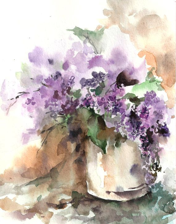 Watercolor Painting Art Print Of Lilac Flowers Still Life Watercolor Painting Florals Watercolour Wall A Watercolor Flowers Floral Watercolor Flower Painting
