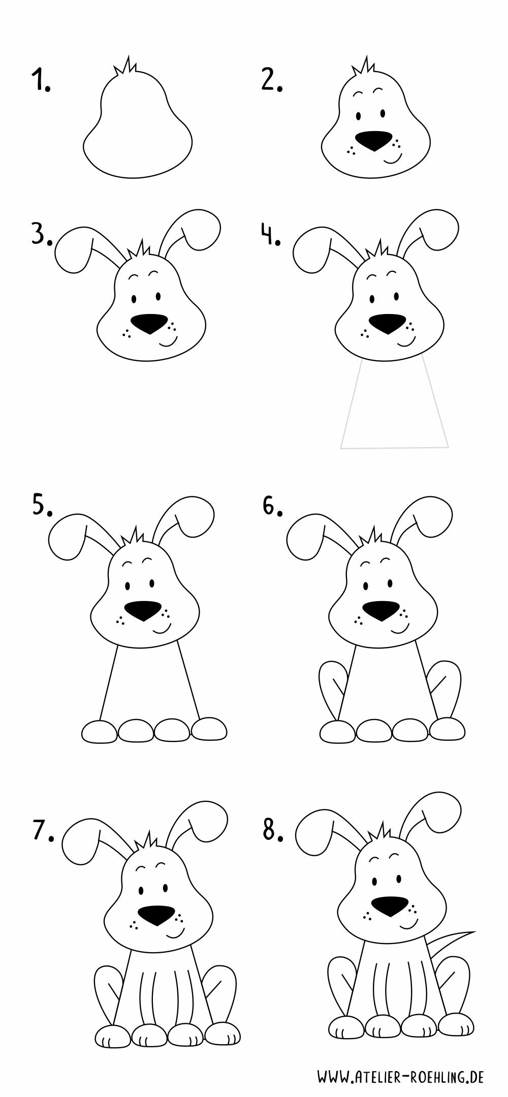 Wie Zeichnet Man Einen Hund Schritt Fur Schritt Mit Pdf Anleitung Hund Zeichnen Einfache Sachen Zum Zeichnen Hund Einfach Zeichnen