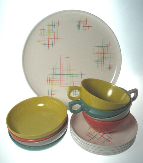 Melmac Dinnerware Patterns | Group of Melmac Dishes by Aztec 50\u0027s Color \u0026 Design  sc 1 st  Pinterest & Melmac Dinnerware Patterns | Group of Melmac Dishes by Aztec 50\u0027s ...