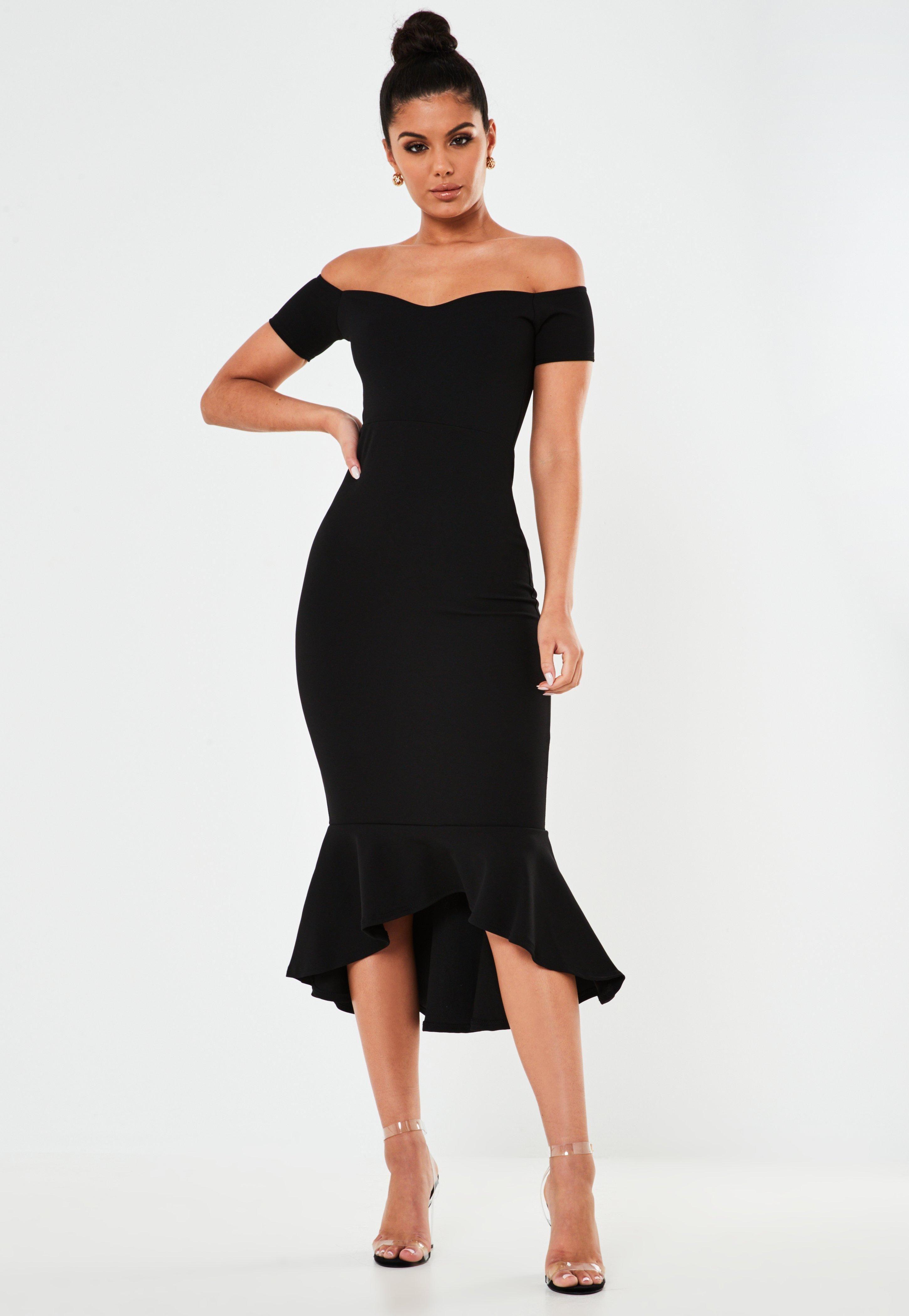 Missguided Black Bardot Fishtail Bodycon Midi Dress Midi Dress Bodycon Midi Bridesmaid Dress Fishtail Midi Dress [ 4200 x 2900 Pixel ]