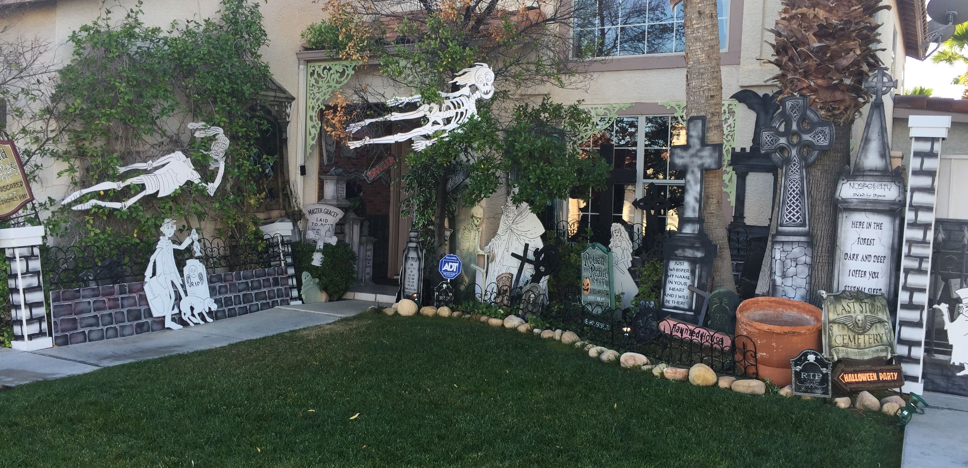 My Own Props Halloween 2016 Haunted Mansion Front Yard Haunted Mansion Halloween Tombstones Halloween Inspiration Haunted house ideas for backyard