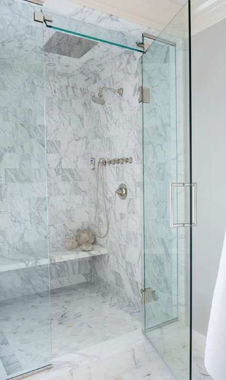 Master Bath Shower Features A Marble Clad Ceiling And Walls Lined