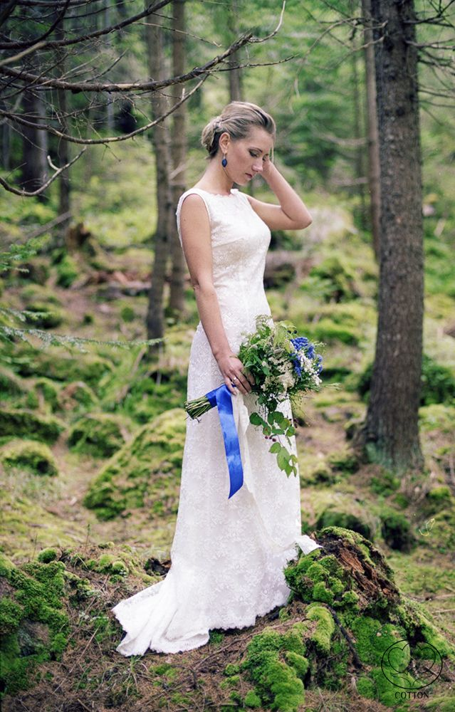 """By """"COTTON"""" Photography & Decor Studio http://www.cottonwedding.com/ Lace wedding in forests of Carpathians.  DIY, handmade, forest bouquet, lace wedding dress, lace tambour, lace frames, lace nappkin, lace altar, evening ceremony"""