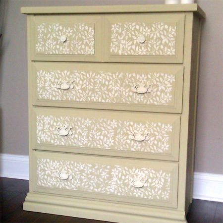 Transform furniture with lace and spray paint