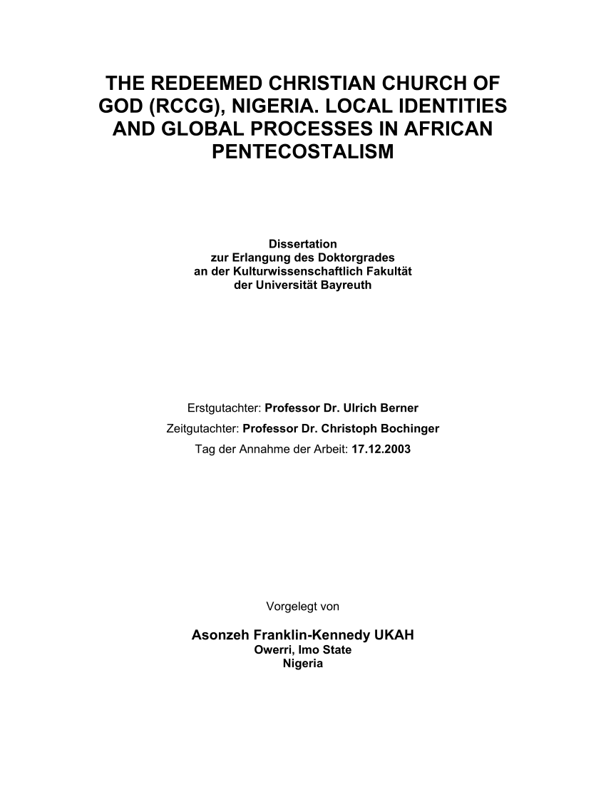 Pdf This Study Documents The History And Growth Of The Redeemed Christian Church Of God Rccg The Healthcare Quotes Christian Church Christian Bible Study