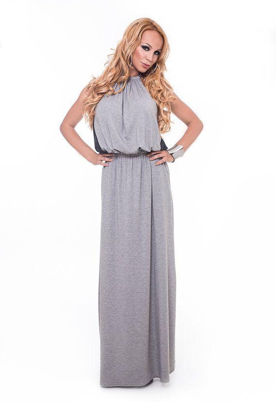 Graue lose Maxi Kleid / langes Kleid grau / Lace von DECALOGUE13 ...