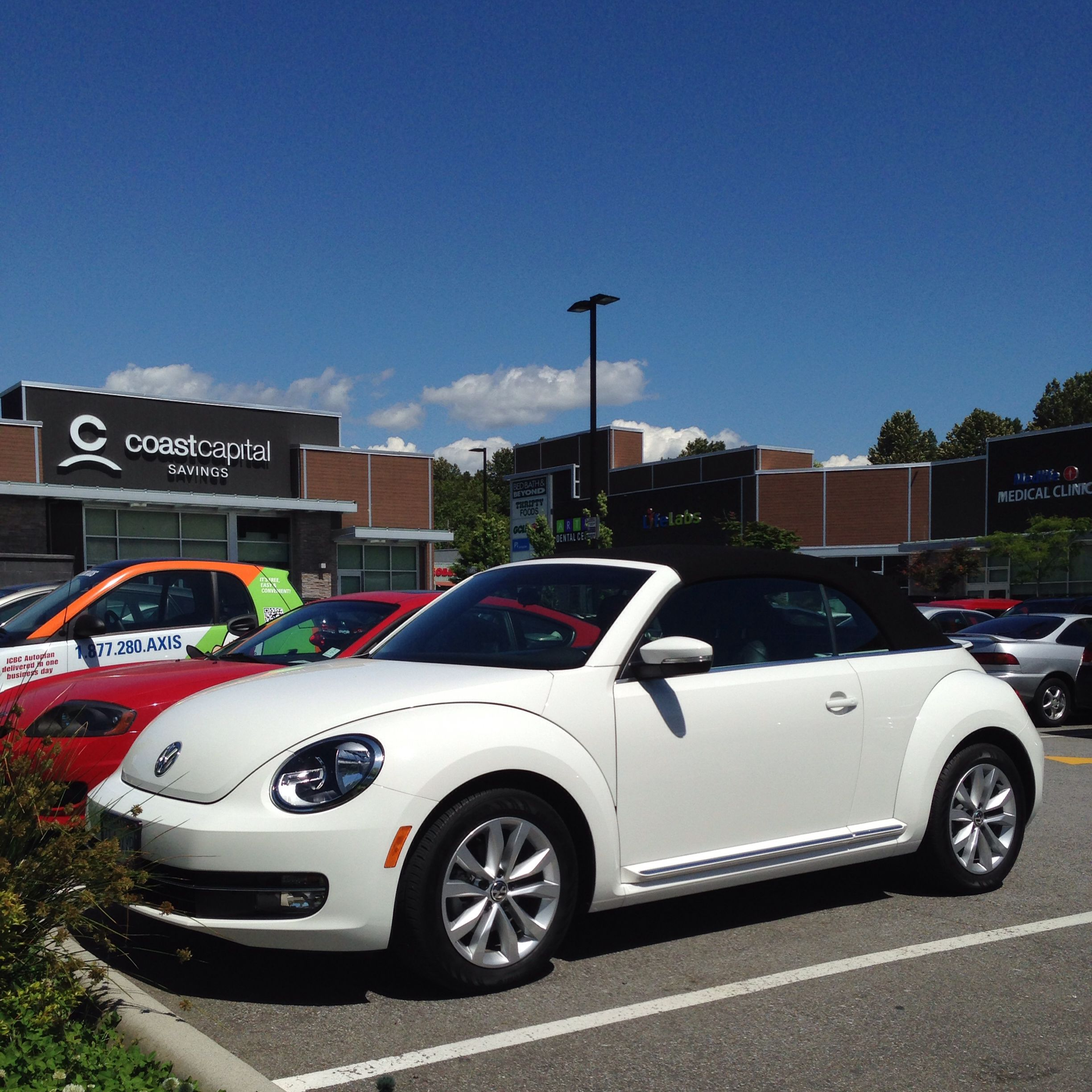 Nice Candy White VW Beetle Convertible spotted in Capilano