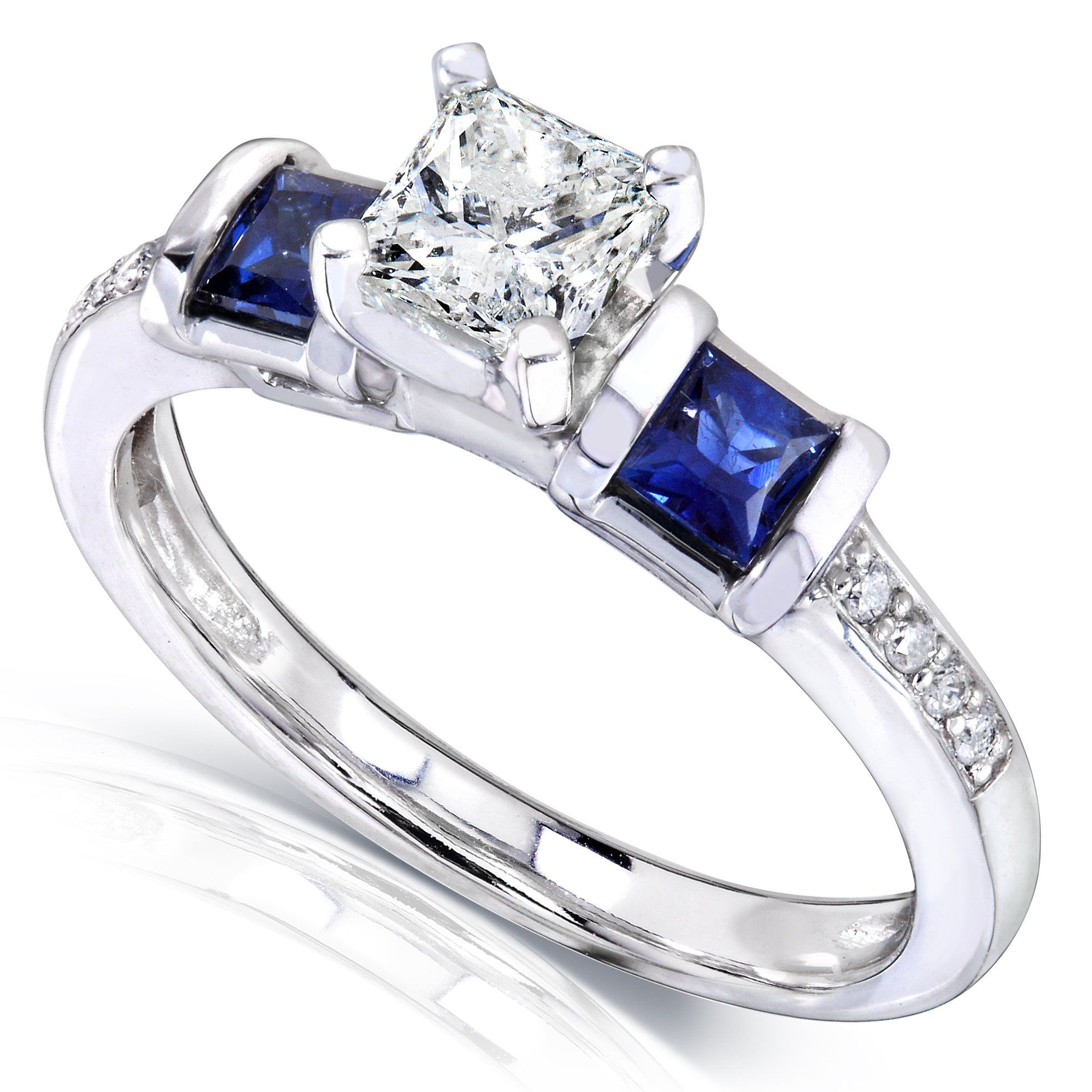 7/8ct TW Three-Stone Diamond and Sapphire Engagement Ring in 14k White Gold - Size 4.5