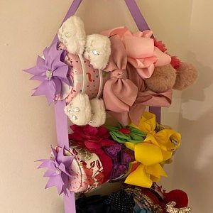 Headband Holder or head band holder hairbow organizer board Pink paris Handmade combination holder