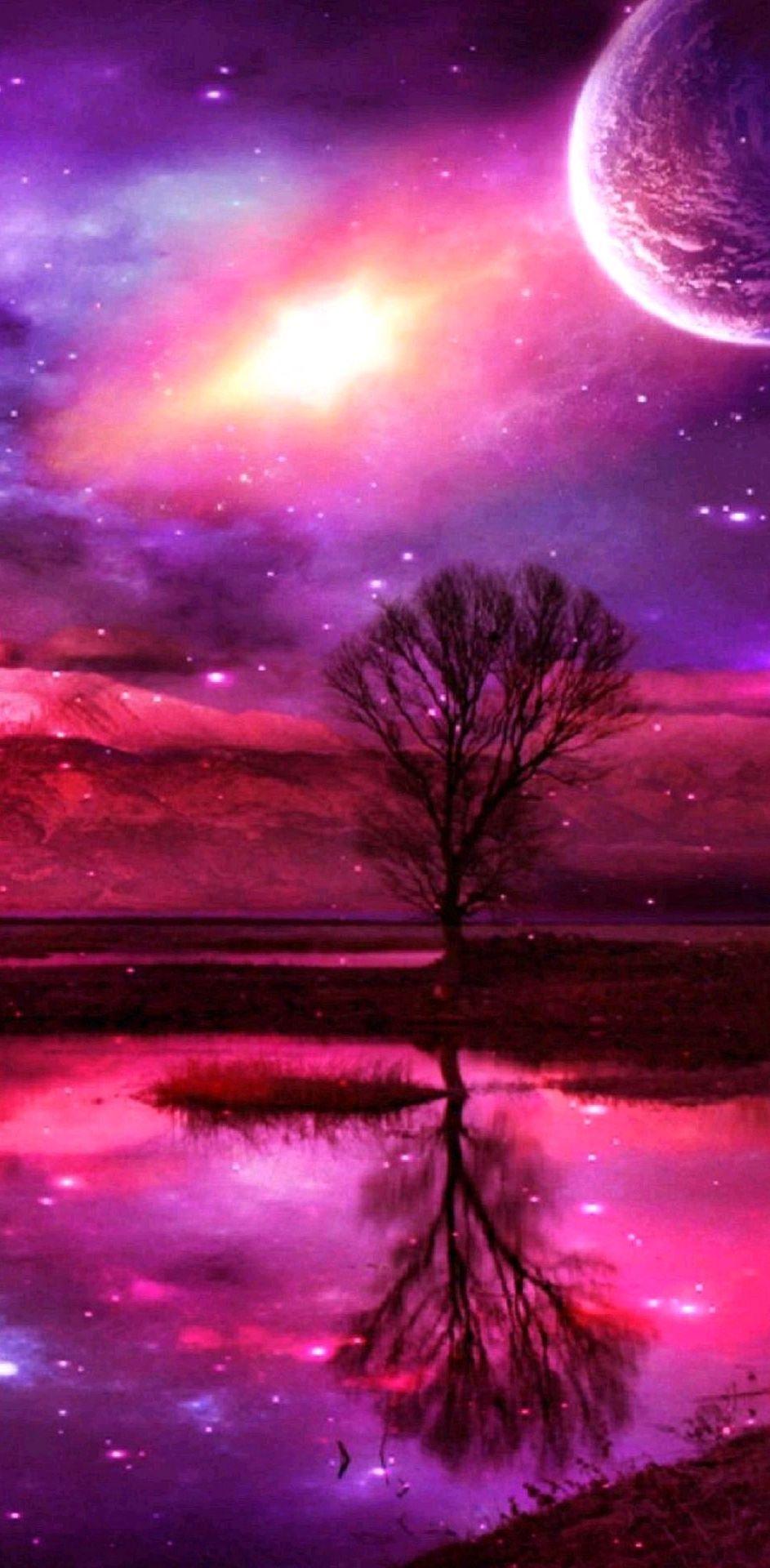 كل شيئ لقتل الملل 1 خلفيات بنفسجية Galaxy Art Night Sky Wallpaper Tree Water Wallpaper