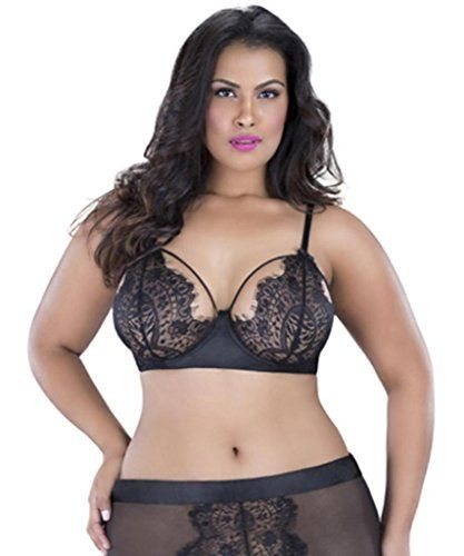 sexy eyelash lace plus size sheer cage strap bra lingerie. Black Bedroom Furniture Sets. Home Design Ideas
