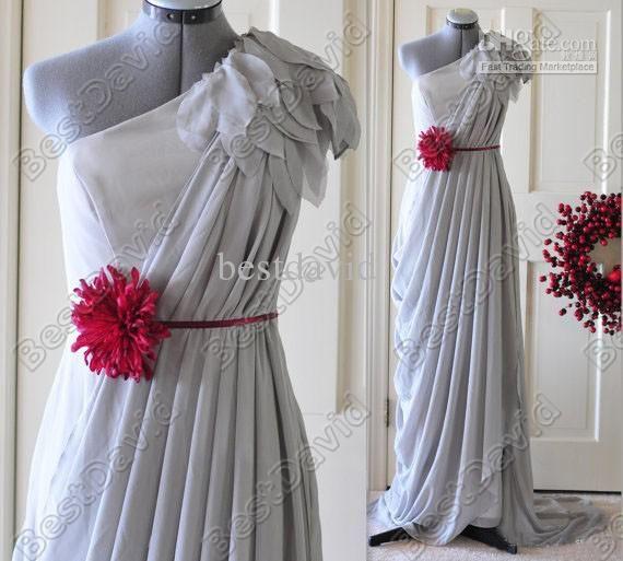 Custom Make Light Grey One-Shoulder Evening Dress Sheath Chiffon ...