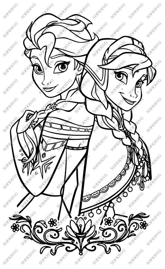 Elsa And Anna Svg Files Disney Princess Elsa And Anna Clipart Svg For Cricut Svg For Sil Elsa Coloring Pages Cartoon Coloring Pages Disney Coloring Pages