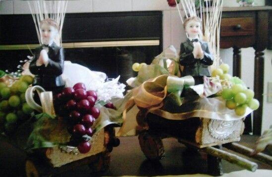 Centro de mesa , carretas
