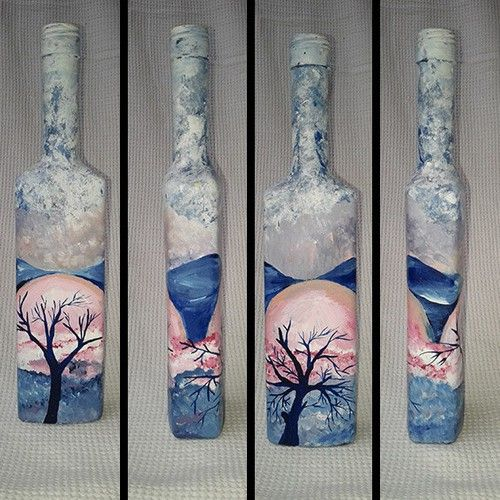Perfect Japanese Autumn On Hand Painted Bottle Yello This Is An