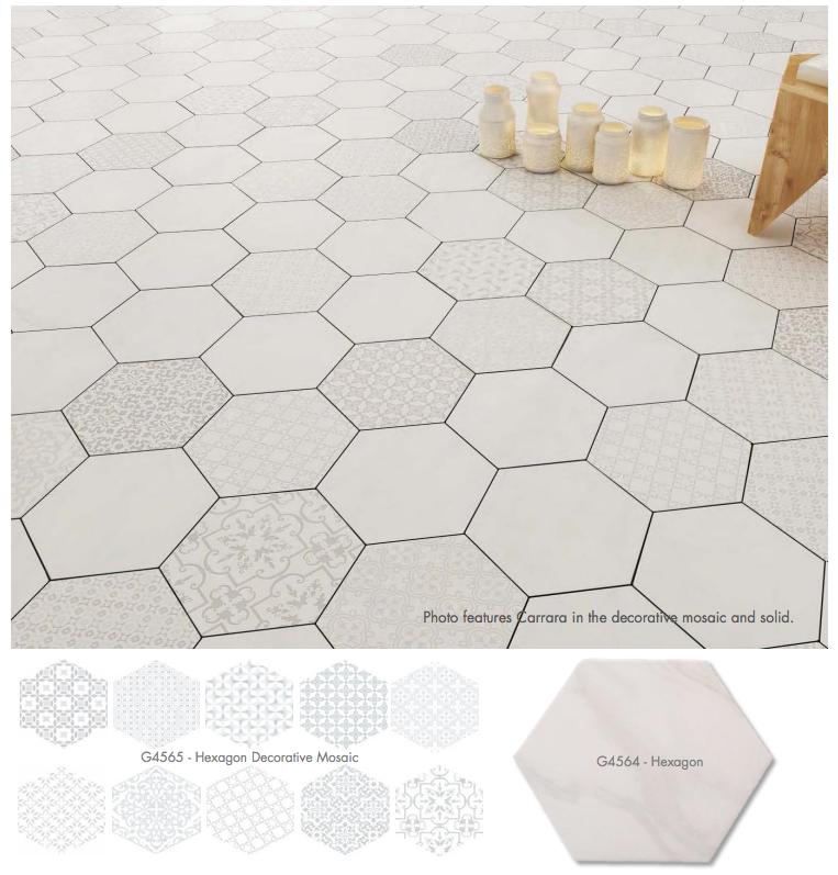 Lun Carrara Hexagon Mixed Decor 9 6 X11 European Home Decor Hexagon Hexagon Tiles