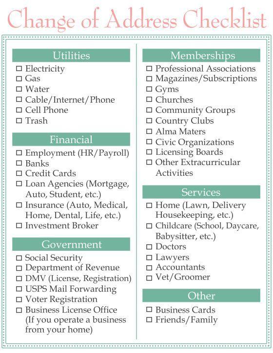 Moving Change Of Address Checklist Www Homesweetlifeblog Com