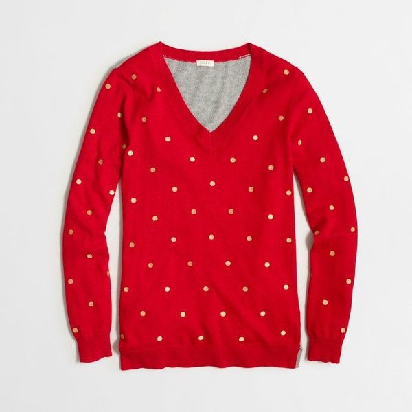 J.Crew Factory embroidered dot tunic sweater ($44) ❤ liked on Polyvore featuring tops, sweaters, j.crew, red embroidered top, dot sweater, j crew top and embroidery tops