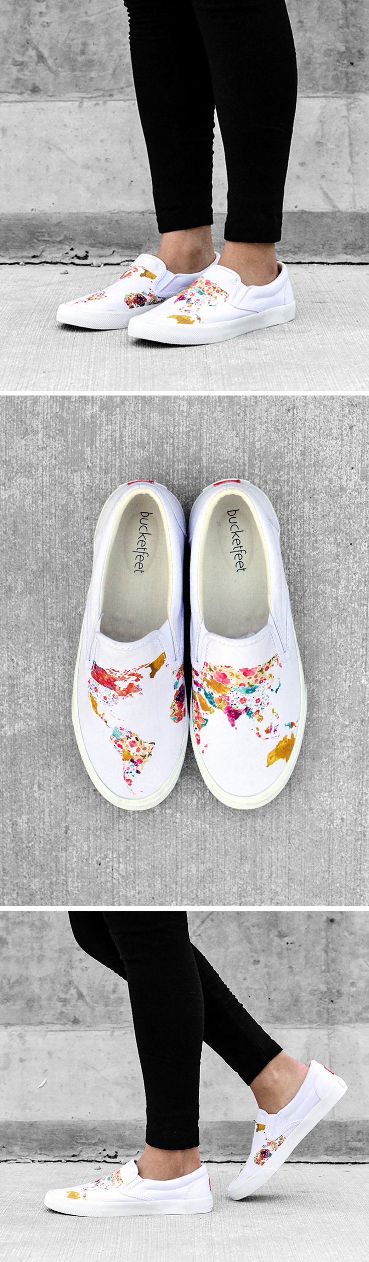 024b214b0b4b WORLD MAP Watercolor meets canvas in these black slip-ons by longtime  Bucketfeet artist Meera Lee Patel. The Brooklyn-based watercolorist infuses  her work ...