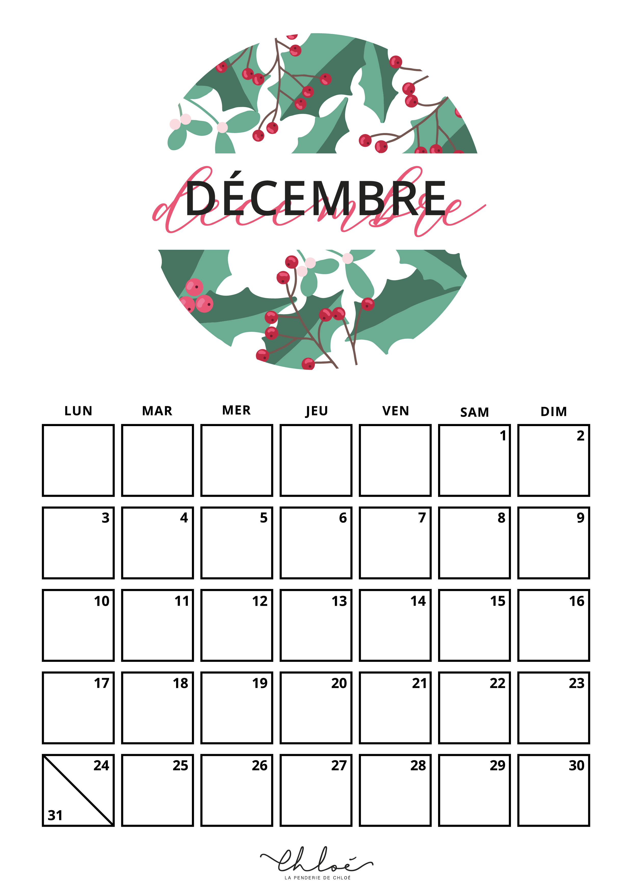 Calendrier Decembre A Imprimer Blog Lifestyle La Penderie De Chloe Calendrier A Imprimer Calendrier Decembre Calendrier A Imprimer Gratuit