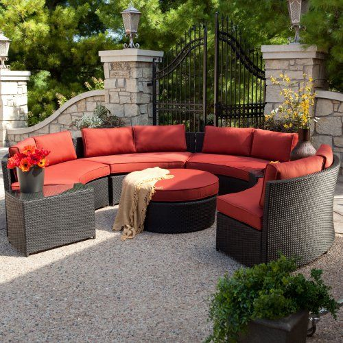 Belham Living Meridian Round Outdoor Wicker Patio Furniture Set With  Sunbrella Cushions   If You Need A Reason To Have The Neighbors Over For  Some Grilling ...