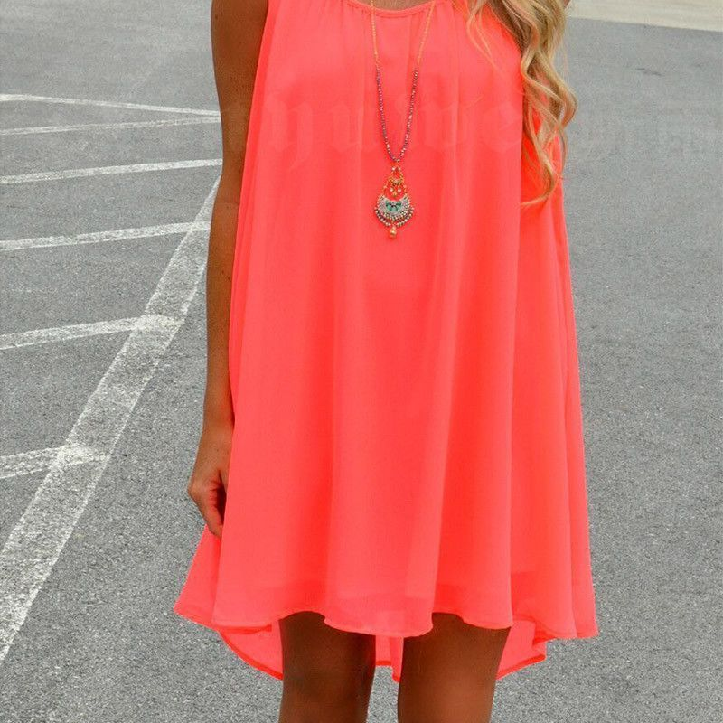 Loose Casual Summer Beach Dress Plus Size Mini Sleeveless Dresses Fluorescence Hollow Out Women Clothing