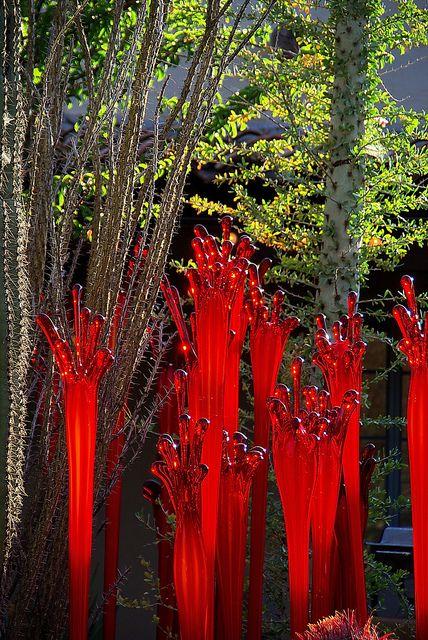 Chihuly Red Lava Desert Botanical Garden Glass art