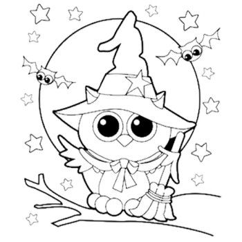 Halloween Owl Witch Coloring Page | Food | Pinterest