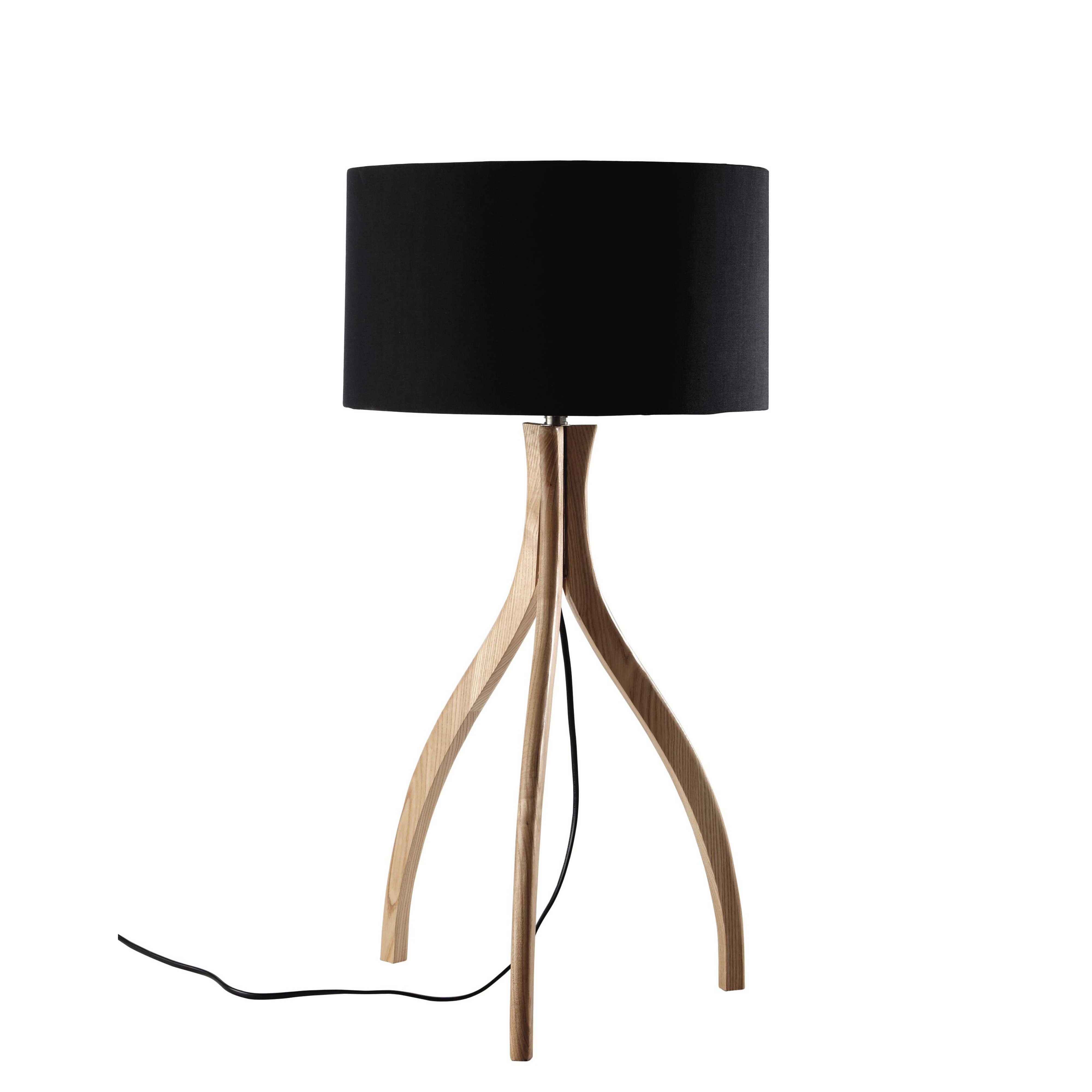 Lampe trépied en bois et abat jour en coton noir H 70 cm SVEN