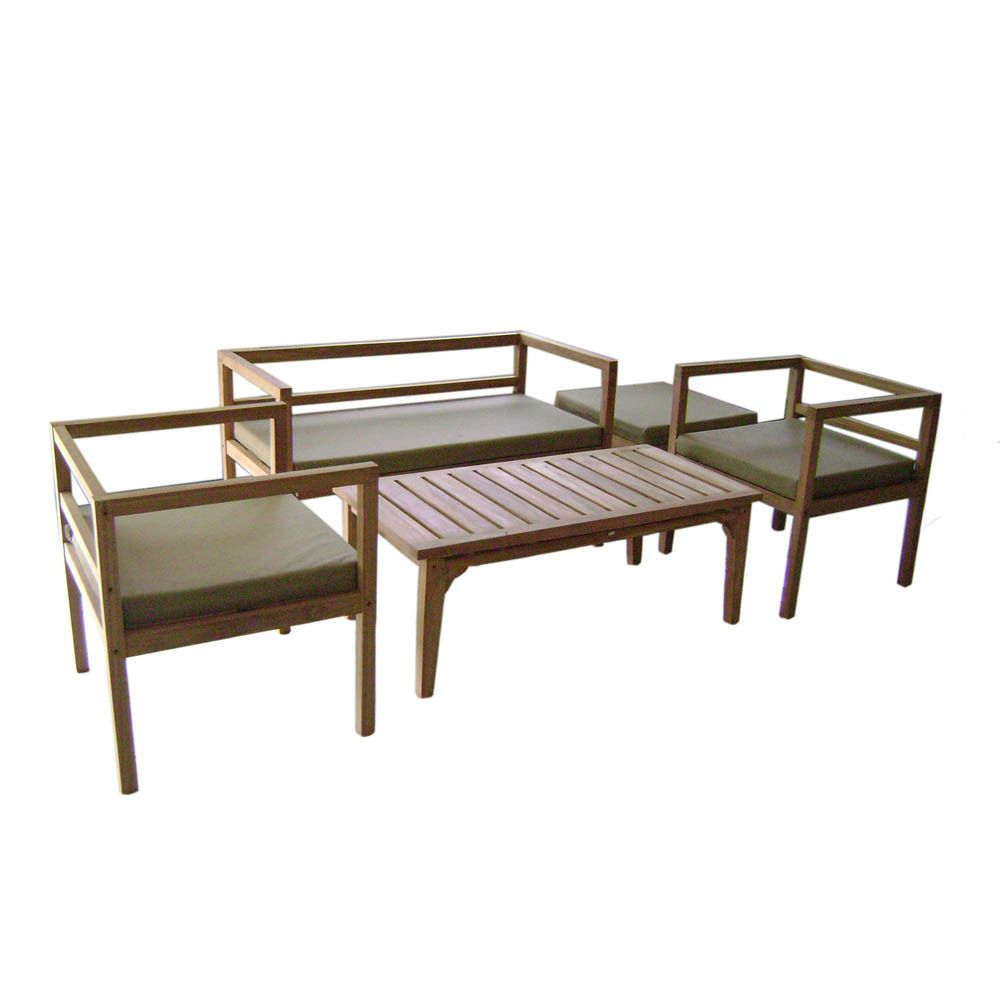 outdoor teak patio furniture conversation set 5 pcs w olive