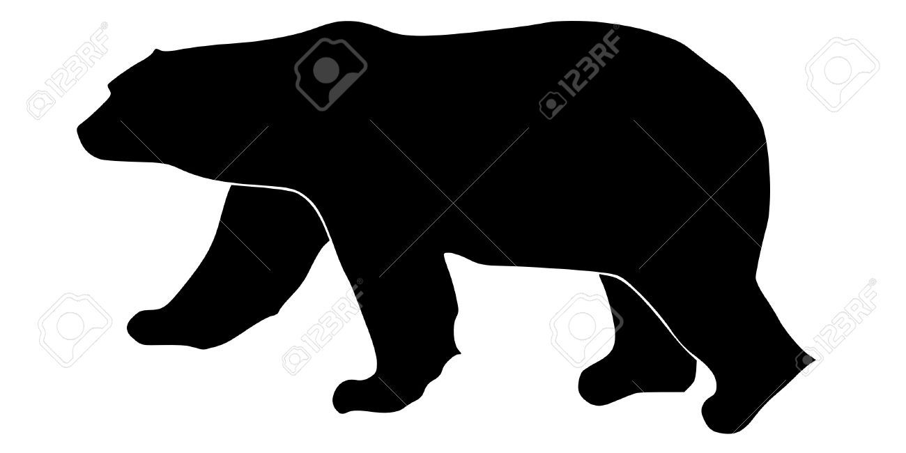 a black silhouette of serie of animals polar bear Stock Vector