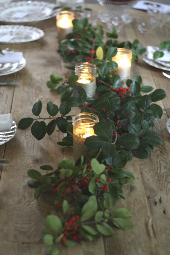 Decorate with Holly and Tea Lights for an easy Christmas table