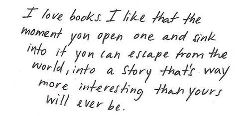 I love books I like that the moment you open one and sink