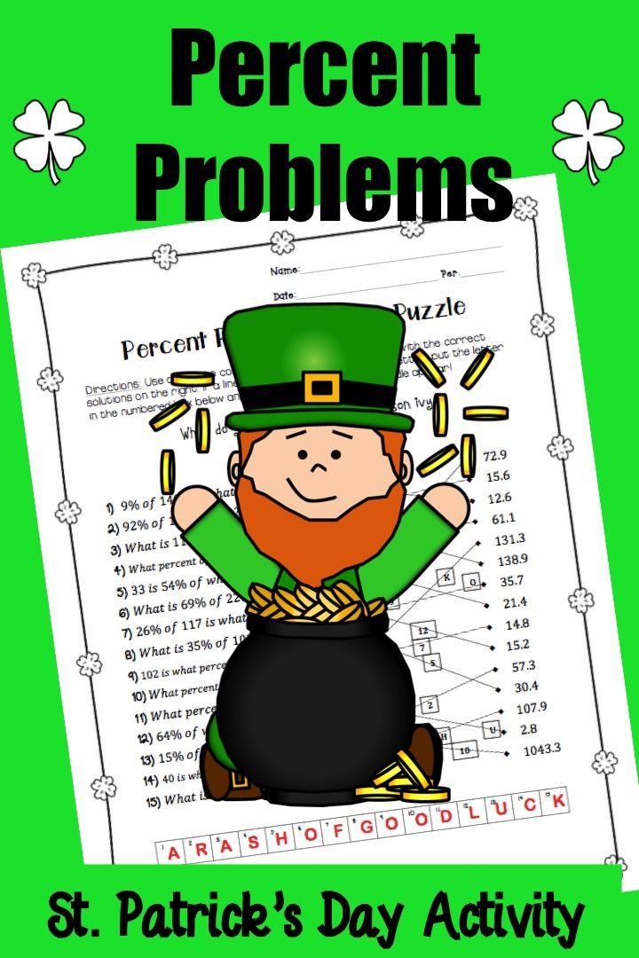 St Patrick\u0027s Day Algebra - Percent Problems Algebra, Percents and