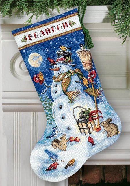 "Linda Gillum /""Snowman /& Friends/"" Stocking Counted Cross Stitch Pattern"
