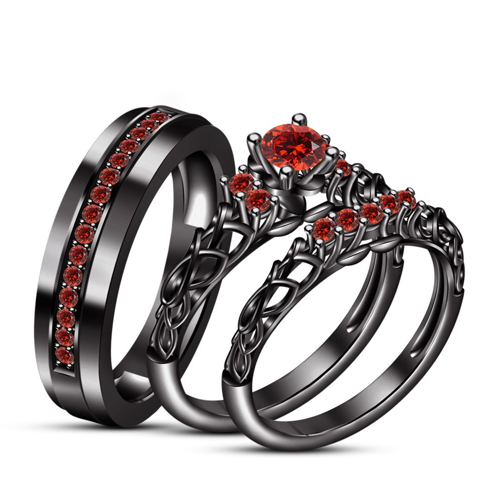 Black Gp 925 Silver Red Garnet His Her Matching Band Engagement
