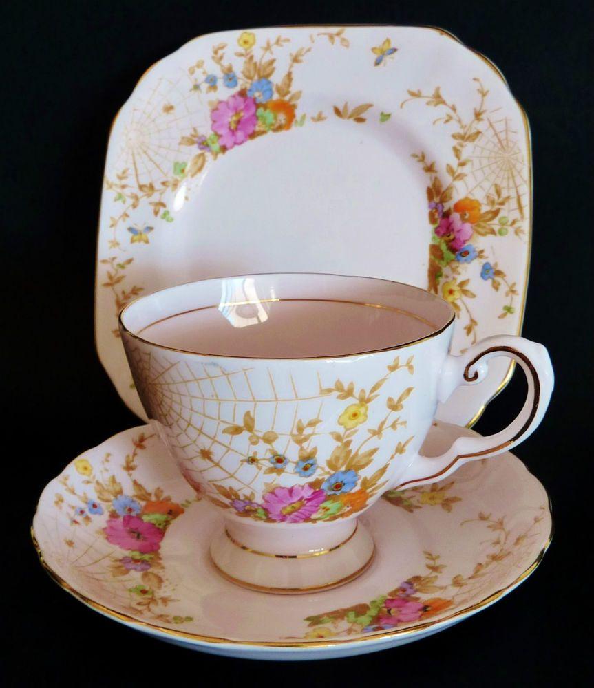 VINTAGE TUSCAN bone china TRIO H/ptd SPIDERS WEB cup saucer plate set HIGH TEA & VINTAGE TUSCAN bone china TRIO H/ptd SPIDERS WEB cup saucer plate ...