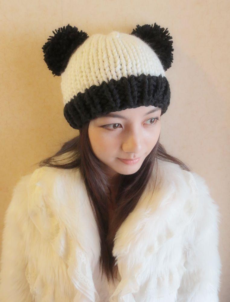 panda knit hat Gorros y accesorios para el cabello asiaticos Pinterest ...