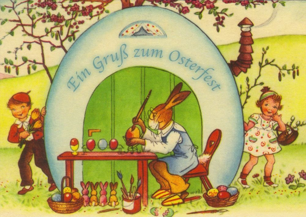 postkarte osterhase vor seiner werkstatt reprint einer