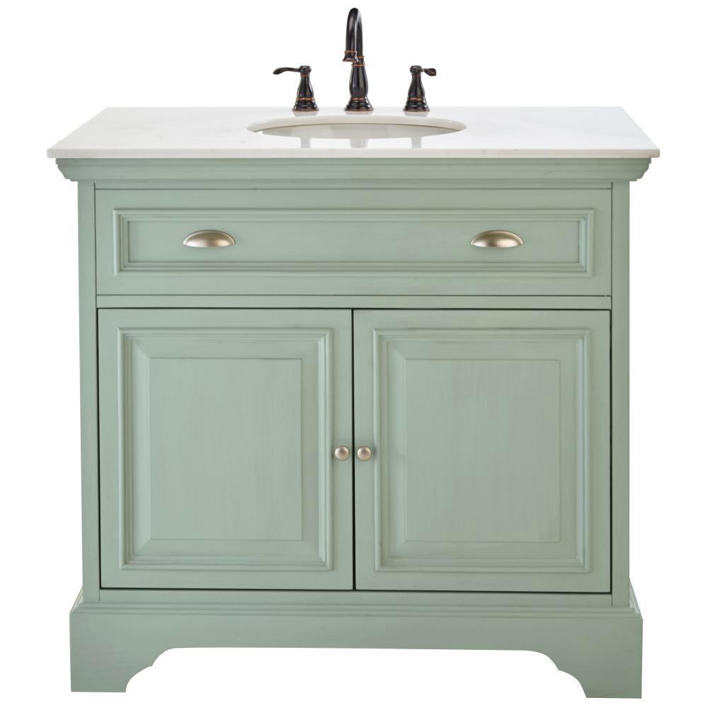 bath home decorators collection sadie 38 in vanity in antique light cyan with marble vanity top