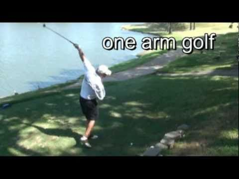 Playing golf with one arm