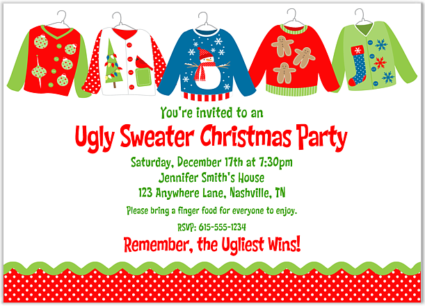 Ugly Christmas Sweater Party Invite.Pin On Christmas Party Ideas