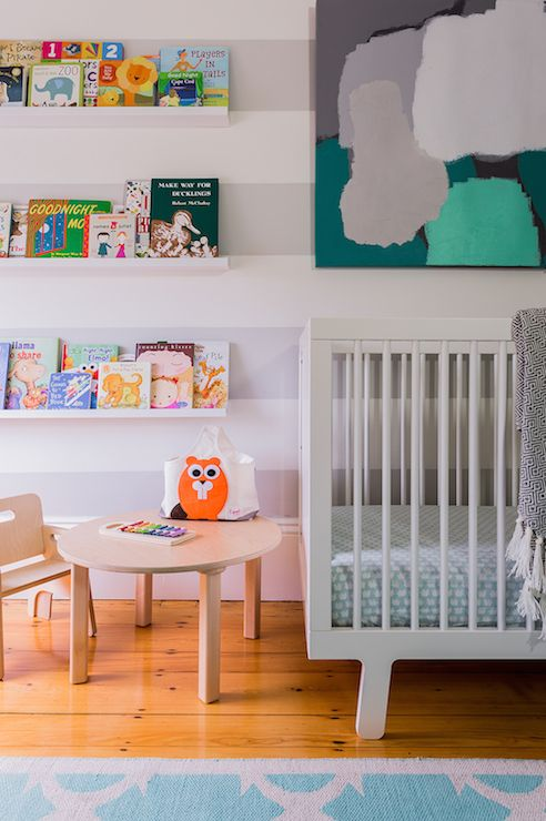 Contemporary Nursery Boasts White And Gray Striped Walls As A Backdrop For Abstract Art Over Babyletto Hudson Crib Situated Next To Land Of Nod Straight