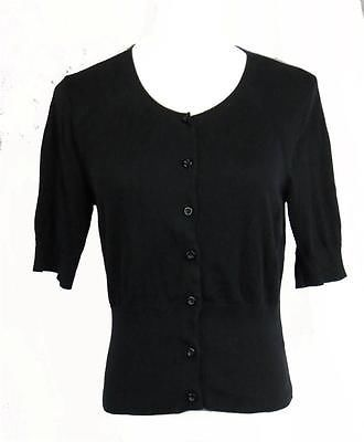 Cabi Black Cardigan Sweater Womens Short Sleeve Size Small Knit Cotton