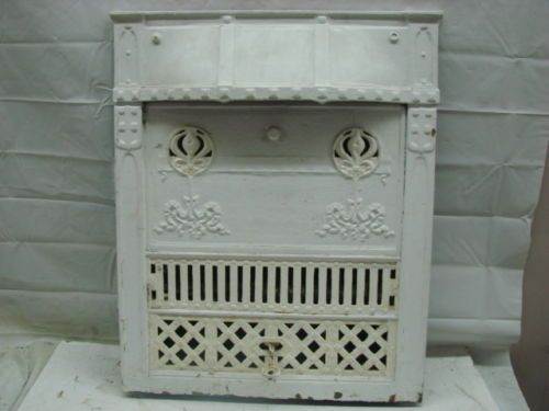 antique late 1800s cast iron ornate gas fireplace insert c