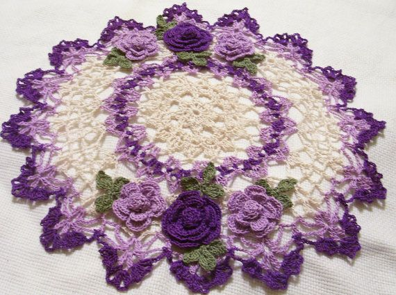 purple ecru crocheted doily home decor handmade in by Aeshagirl